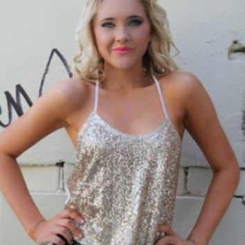 Gold Sequin Front Racerback Top
