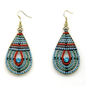 Tear Drop Seed Bead Design Fashion Earrings