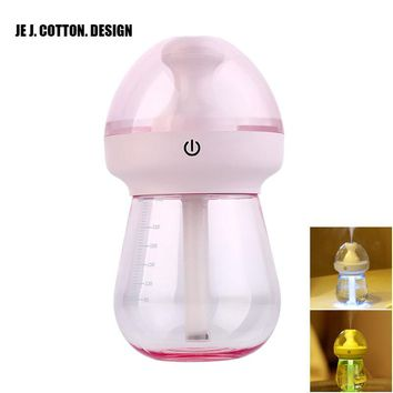 Milk Bottle USB Ultrasonic Air Humidifier with LED Lamp 240ML Aroma Diffuser Essential Oil Humidificador Home Car Water Fogger