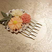 Handmade wedding hair comb clip resin flowers roses vintage bird cream peach green sage wedding prom accessory hair piece bride