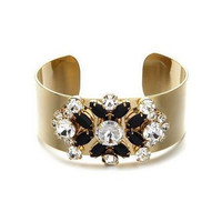Rigid CUFF BRACELET Gold plated & Crystal Flower