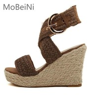 New Women Espadrille Wedge Sandals Summer Roman Bohemian Womens High Heels Wedges Open Toe Sandals Ankle Strap Cross-tied Shoes