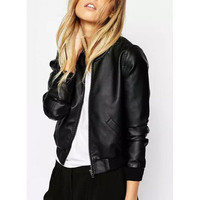 Trendy Stand Collar Long Sleeve PU Leather Black Jacket For Her