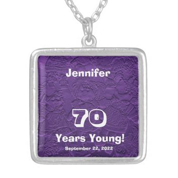 70th Birthday 70 Years Young Purple Dolls Necklace