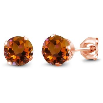 1.20 Ct Round Shape Orange Mystic Topaz Rose Gold Plated Silver Stud Earrings