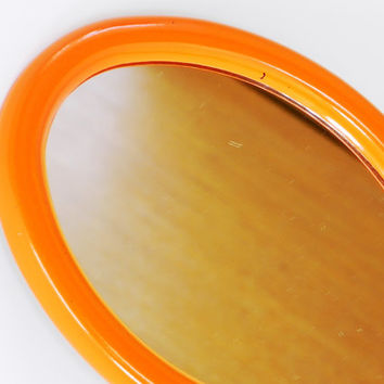 1970s ORANGE OVAL MIRROR Wall Hanging Decor. Bathroom Kitchen Bedroom Small Painted.