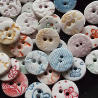 Porcelain Ceramic Round Buttons Handmade Scrapbooking Craft Supplies