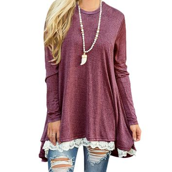 Women'S Loose Solid Color Short-Sleeved Lace T-Shirt