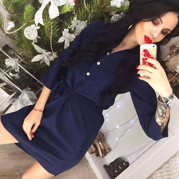 New Women's Casaul Belt Shirt Dress 2018 Summer 3/4 Sleeve Lady Office  Work Wear Party  Dresses Female Vestidos Plus Size