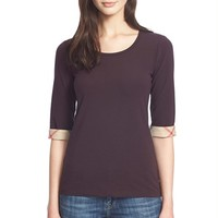 Women's Burberry Brit Check Cuff Scoop Neck Tee,