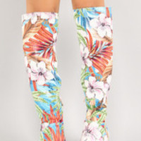 Women's Perforated Leatherette Tropical Floral Knee High Boot