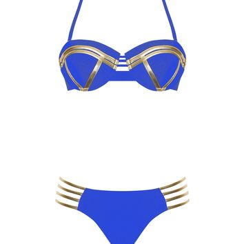 Blue and Gold Halter Neck Top and Lace Up Bottom Bikini Set