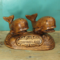 Treasure Craft Marineland of the Pacific Souvenir Whale Salt and Pepper Shakers • USA Pottery • Pair of Ceramic Whales on Stand