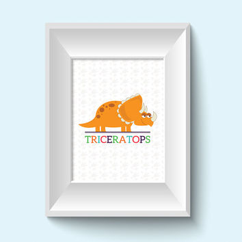 Kids Wall Art / Dinosaur Children's Decor / 8x10 Child Decor Dino Prints / Triceratops / Boys Room Decor