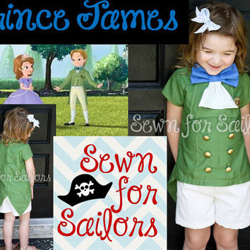 Disney Sofia the first Prince James inspired shirt and shorts set for boys sizes 1, 2,3 4