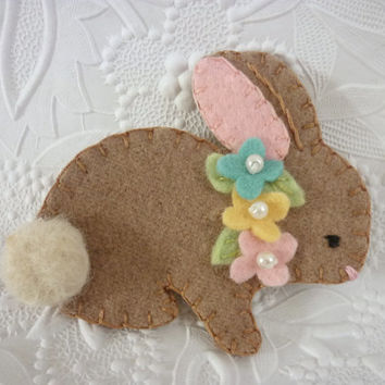 Felt Brooch Bunny Easter Spring Beaded Flowers Felted Wool