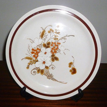"Vintage 1970s Four Seasons Collection Stoneware Plate ""Autumn Bouquet"" / Retro Collectible Japanese Plate / Oven to Table / Platter"