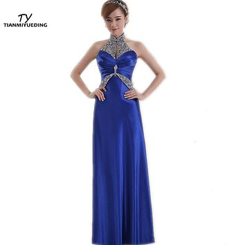 Vestidos De Madrinha Under 50 Blue Bridesmaid Dresses Long High Neck Beaded Pleats Draped Wedding Guest Dress Vestido Longo