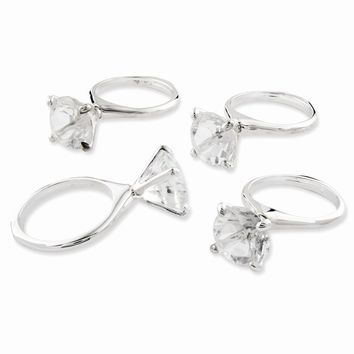 Silver-plated Crystal Diamond Ring Set of 4 Napkin Rings - Perfect Wedding Gift