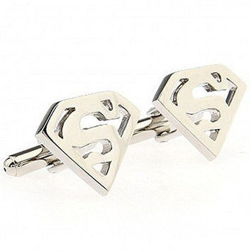 Basket Hill ,DC Comics Superman Logo in Silver Tone Cufflinks