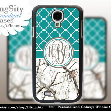 Monogram Galaxy S4 case S5 Real White Tree Camo Turquoise Quatrefoil Personalized Samsung Galaxy S3 Case Note 2 3 Cover Country Girl