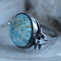 Czech Art Deco 30's Silver and Round Turquoise Peking Glass Ring Size 6