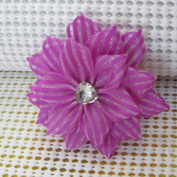 Kanzashi flower hair clip / Kanzashi hair bow / Pageant hair clip - bow / Ribbon flower hair clip / Bridal hair flower / Alligator hair clip