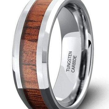 CERTIFIED 8MM Wood Inlay Tungsten Wedding Ring