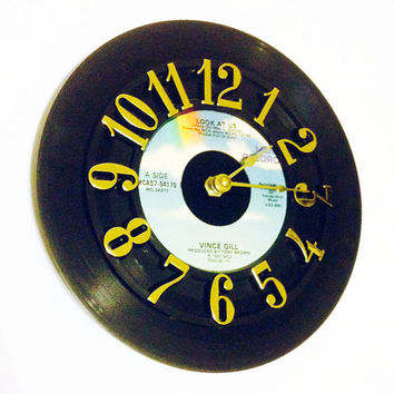Clock, Record Clock, Vinyl Record Clock, Wall Clock, Vince Gill Record, Recycled Record, Upcycle, Battery & Wall Hanger included, Item #100