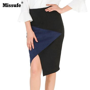 e84e32bd433 Missufe Patchwork Suede Leather Skirts Women Bandage Pencil Skir