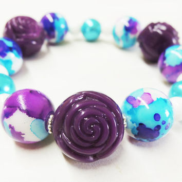 Purple, Blue, and White Elastic Bracelet Handmade by Lindsey - Vibrant Purple - Turquoise Blue - Christmas Gift