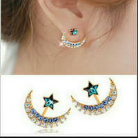 BLUE CRYSTAL STAR AND MOON JACKET EARRINGS