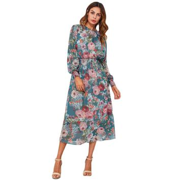 Floral Dress With Liner Slip Dresses  Fashion Women Elegant Long Sleeve Blue Midi Dress