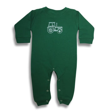 Big Green Tractor Long Sleeve Infant Romper