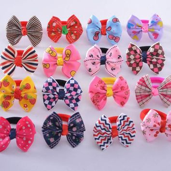 10pcs/lot 2016 korean Butterfly Bow Flower Print Elastic Hair Rope Bands Baby Girls Ponytail Holder  Hair Accessories Headwear