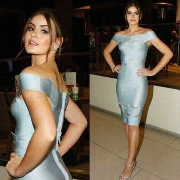 ESB3DS 2018 Trending Herve Leger Sky blue a word on the shoulder jacquard dress with a wavy hollowed out