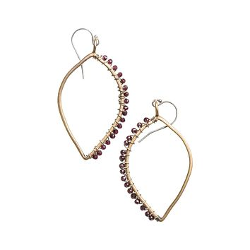 Red Garnet Stone Wrapped Tangier Earrings