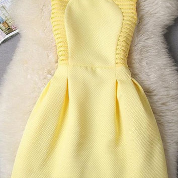 Yellow Sleeveless A-Line Mini Dress