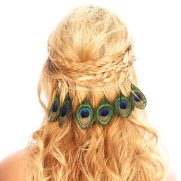 Peacock Feather Hair Grip