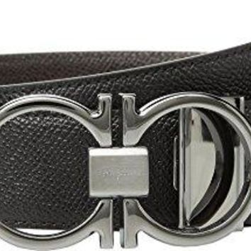 Salvatore Ferragamo Men's Adjustable/Reversible Belt - 9661 Black/T-Moro 42