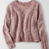 AEO Cropped Cable Pullover, Pink