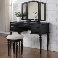 Tri Folding Mirror Black Wood Vanity Set Make Up Table Dresser w/Stool 5 Drawers