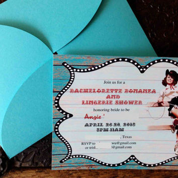 Bachelorette hens night bridal shower party custom invitation.