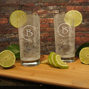 One (1) Cocktail Personalized 15 oz. Highball Glass with Engraved Designs & Font Selection OPTIONAL Monogrammed 3 oz. Shot Glass
