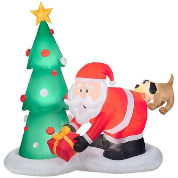 7 Ft. Gemmy Airblown Inflatables Santa And Dog Scene