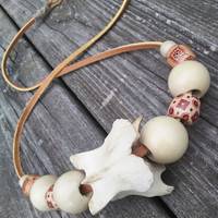 Mens Bone Necklace - Deer Bone Vertebrae Pendant - Tribal Shamans Necklace - Mens Leather Necklace - Spine necklace - Taxidermy Jewelry