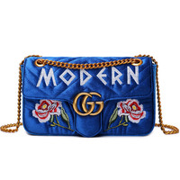 Gucci Bag Velvet Women Shopping Flower Print Bag Shoulder Bag LOVE / MODERN Word Bag B104478-1 Flower Blue