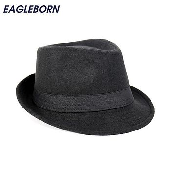 Free Shipping Wide Brim men Fedora Hats Jazz Caps flat top hat gorras casquette wool Brief Style hat chapeu