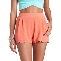 SCALLOPED CHIFFON HIGH-WAISTED SHORTS