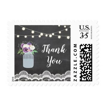 Lace Jar Rustic Stamps Postage Thank You Floral